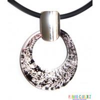 Подвеска овальная с сусальным серебром из муранского стекла