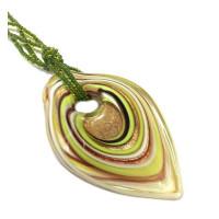 Подвеска Лист зеленый большой из Муранского стекла