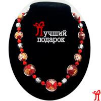 Бусы Rosso Argento красные с серебром из муранского стекла