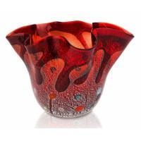 Ваза Фацалетто темно красная из Муранского стекла