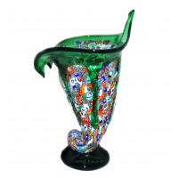 Ваза Факел зеленая из муранского стекла