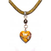 Колье Сердце Фабио люме из муранского стекла
