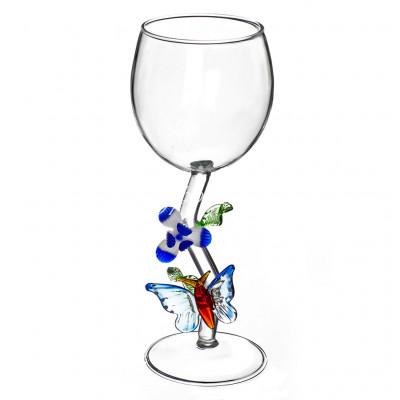 «Бабочка с цветком» Авторский Бокал для вина