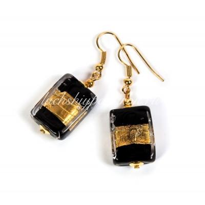 Серьги прямоугольные черные с золотом из муранского стекла