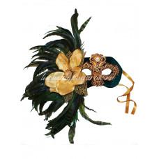 Маска Диадема Магнолия с перьями папье маше