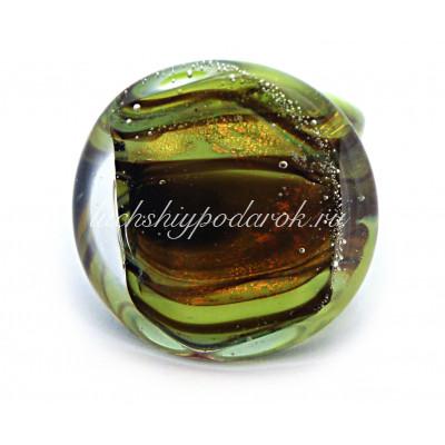 Кольцо плоское зеленое из муранского стекла