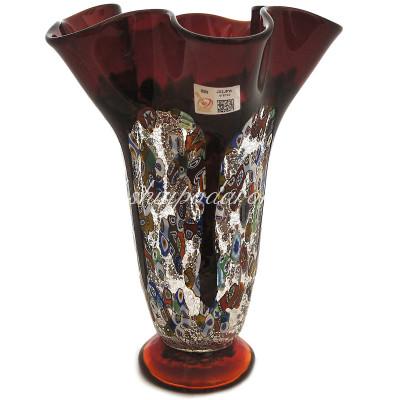Ваза Темно красная с мурринами из муранского стекла