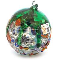 Новогодний шар с сусальным серебром из муранского стекла