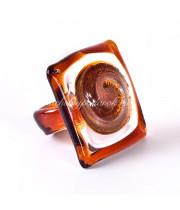 Кольцо квадратное прозрачное из Муранского стекла