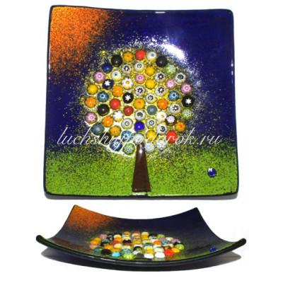 """Блюдо  """"Дерево жизни"""" 12х12 см из муранского стекла"""