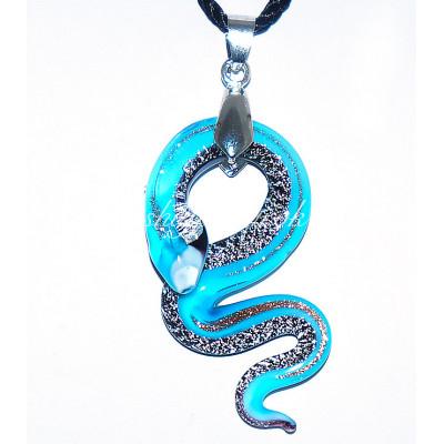 Подвеска Змейка с серебром из Муранского стекла
