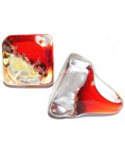 Кольцо квадратное кальцедон из Муранского стекла
