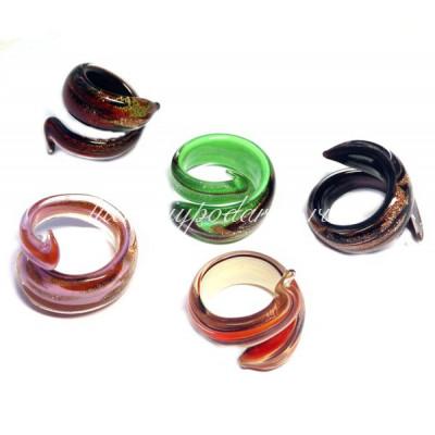 Кольцо Змейка люме из Муранского стекла
