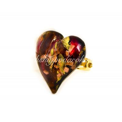 Кольцо Сердце из муранского стекла
