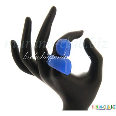 Кольцо завитое матовое муранское стекло