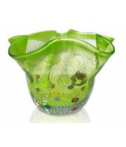 Ваза фацалетто зеленая из муранского стекла