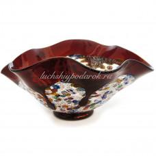 Чаша красная с серебром фацалетто из Муранского стекла