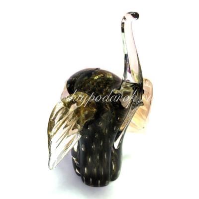 Фигурка слона черный-золото из муранского стекла