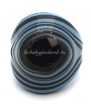 Кольцо Кабашон бомбатто полосатое из муранского стекла