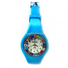 Часы миллефиори из муранского стекла на силиконовом ремешке