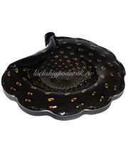 Тарелка черная с золотом из муранского стекла