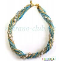 Ожерелье бисерное Мимоза из Муранского стекла