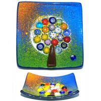 Блюдо Дерево жизни 9х9 см из Муранского стекла