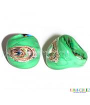 Кольцо кабашон люме с узором из Муранского стекла