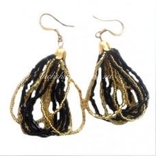 Серьги черно-золотые из Венецианского бисера