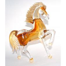 Скульптура конь с сусальным золотом из муранского стекла