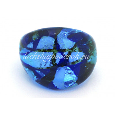 Кольцо Джани мисте синее из муранского стекла