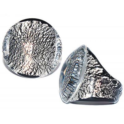 Кольцо кабашон с серебром из Муранского стекла