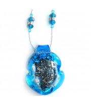 Подвеска голубая с серебром из муранского стекла