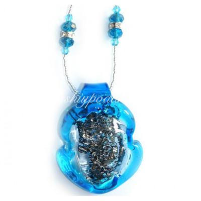 подвеска голубая с серебрянной стружкой из муранского стекла