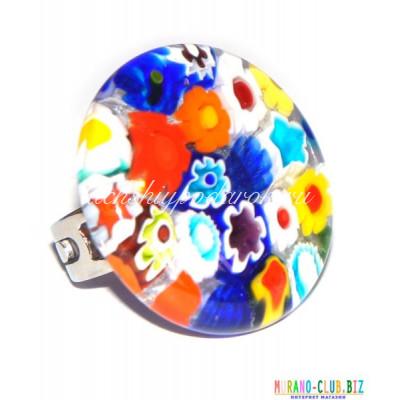 Кольцо миллефиори круглое  диам.3 см из Муранского стекла
