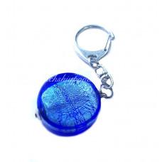 Брелок круг с серебром из муранского стекла