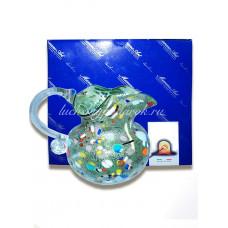 Кувшин Арлекино голубой из Муранского стекла