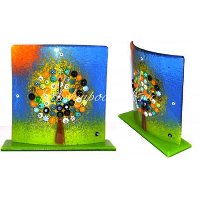 часы настольные дерево жизни из муранского стекла