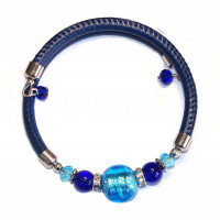 Браслет с круглой синей бусиной из муранского стекла