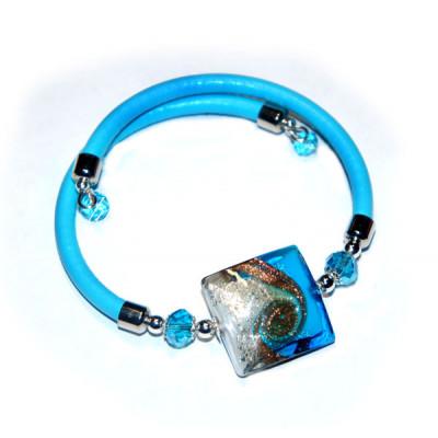 Браслет Maestro Quadro голубой из муранского стекла