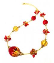Колье красно-золотая олива из муранского стекла
