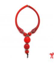 Ожерелье с 5 бусинами красное из муранского стекла