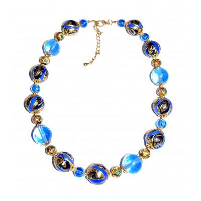Бусы арлекино с золотом голубые из муранского стекла