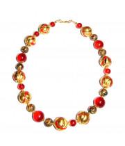 Бусы арлекино с золотом красные из муранского стекла