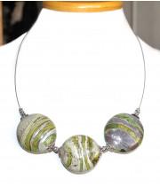 Ожерелье с плоскими воздушными  бусинами