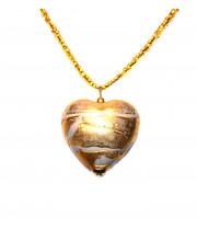 Подвеска сердце с сусальным золотом из муранского стекла