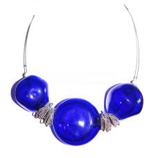 Колье Соффиатто синее с 3 бусинами из муранского стекла