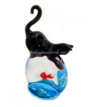 Фигурка кошка с рыбкой из муранского стекла