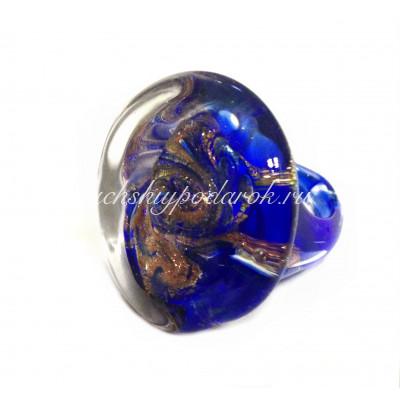 Кольцо Круглое с узором из авантюрином из муранского стекла