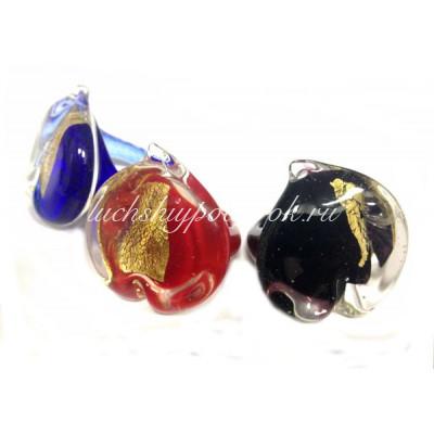 Кольцо Сердце люме из Муранского стекла